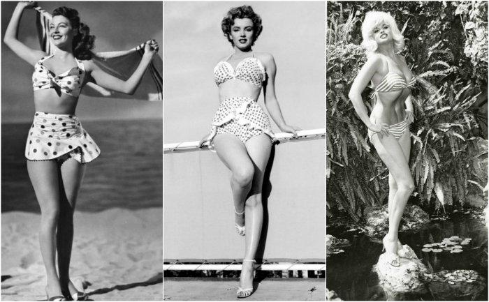 Ava Gardner, Marylin Monroe e Jane Mansfield in bikini 1950s