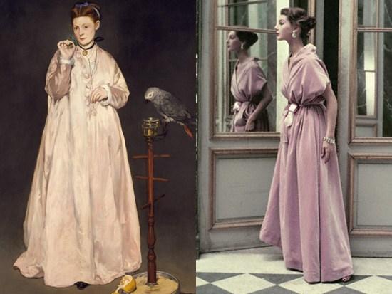Manet, Donna con pappagallo, 1866; Balenciaga 1955