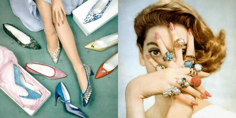 due foto di moda anni '50 che mostrano scarpe e bigiottteria
