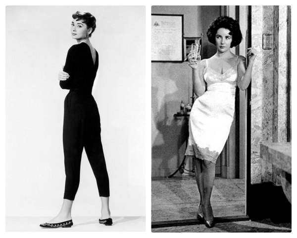 Audrey Hepurn All black and Liza taylor slip