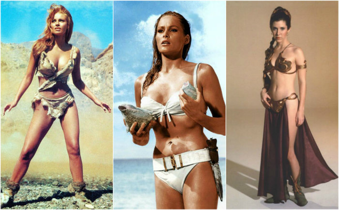 Raquel Welch, Ursula Andress e Carrie Fisher in bikini