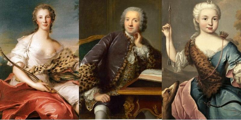 tre ritratti del 700 con elementi animalier