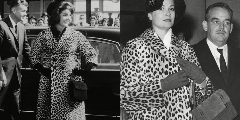 grace kelly e jackie kennedy con addosso cappotti leopardati