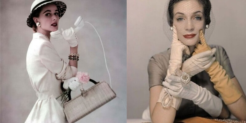 due foto editoriali di accessori anni 50