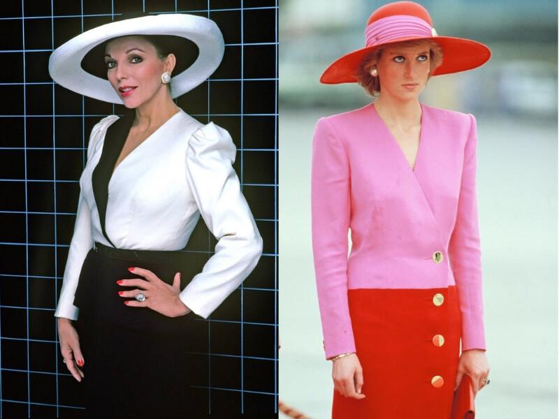 joan collins e la principessa diana con due cappelli a tesa larga negli anni '80