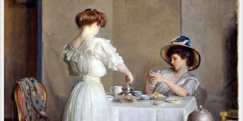un dipinto di william mcgregor paxton che rappresenta una donna a cui viene servito il té