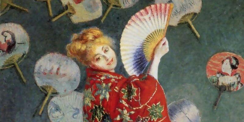 quadro di Monet che rappresenta la moglie del pittore con un kimono e un ventaglio in mano