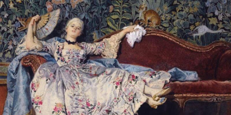 quadro di eleuterio pagliani che rappresenta una dama settecentesca adagiata su un divano mentre si rinfresca con un ventaglio