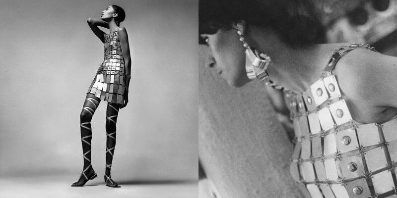 un iconico abito di paco rabanne fatto di piastrine di metallo