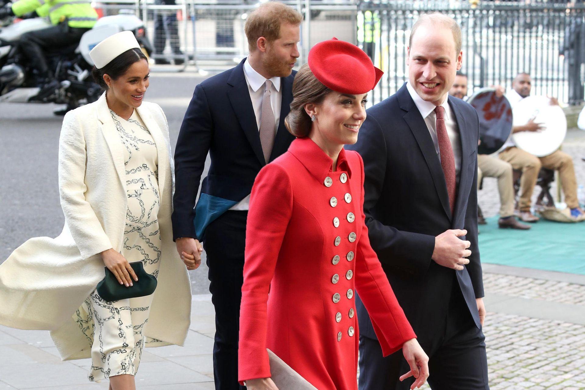 i duchi di cambridge e i duchi di sussex arrivano alla cerimonia commemorativa del commonwealth nel 2018