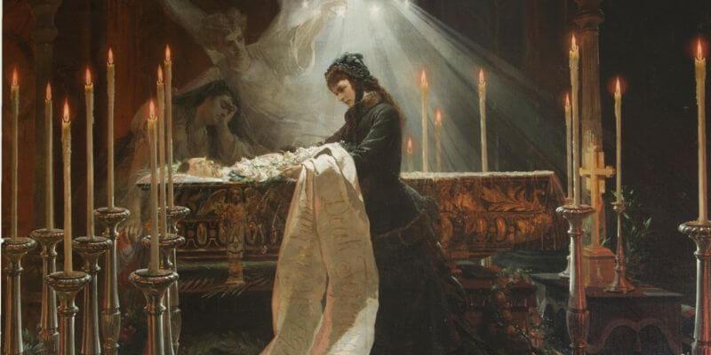 l'imperatrice elisabetta d'austria veglia la salma di Ferenc Deak