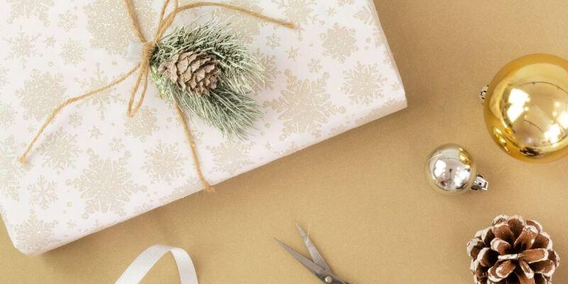 un pacchetto regalo con una pigna decorativa