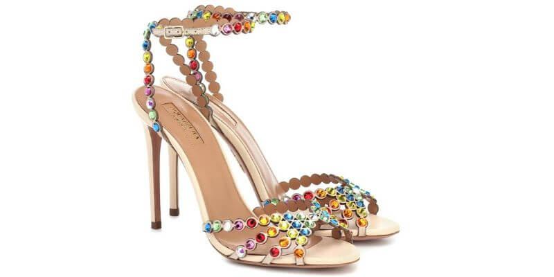 sandali con cristalli aquazurra